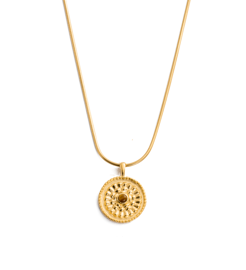 Tiger Eye Coin Necklace in gold by Kirstin Ash at PAYA Boutique online