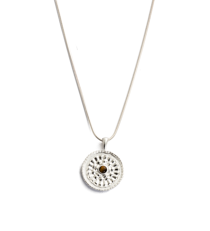 Tigers Eye Coin Necklace in silver by Kirstin Ash at PAYA Boutique online