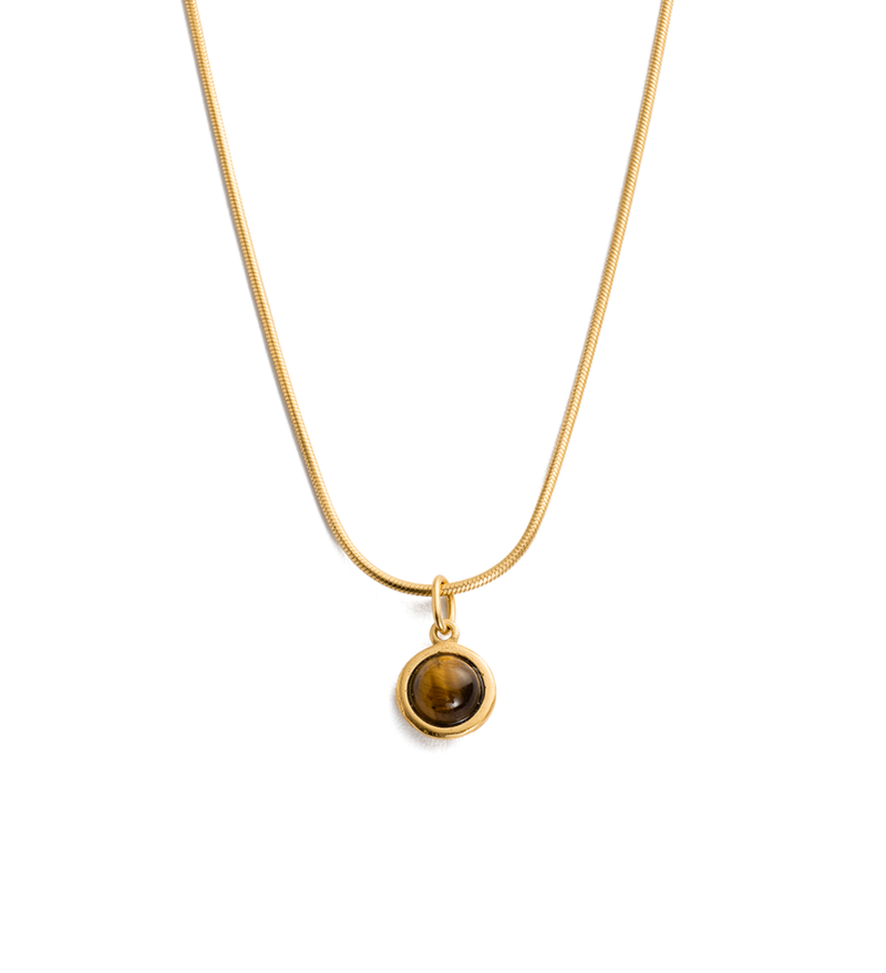 Tigers Eye Gemstone Necklace in gold by Kirstin Ash at PAYA Boutique online