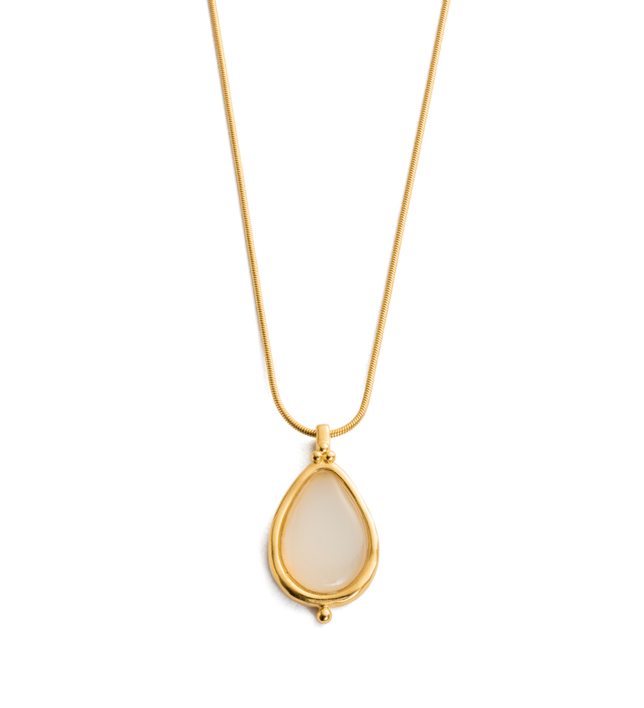 White Agate Teardrop Necklace in gold by Kirstin Ash at PAYA Boutique online