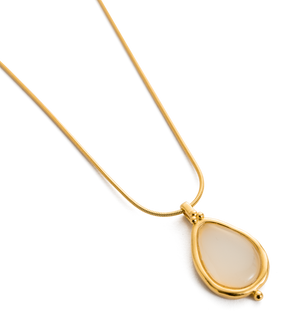 KIRSTIN ASH - White Agate Teardrop Necklace online at PAYA boutique