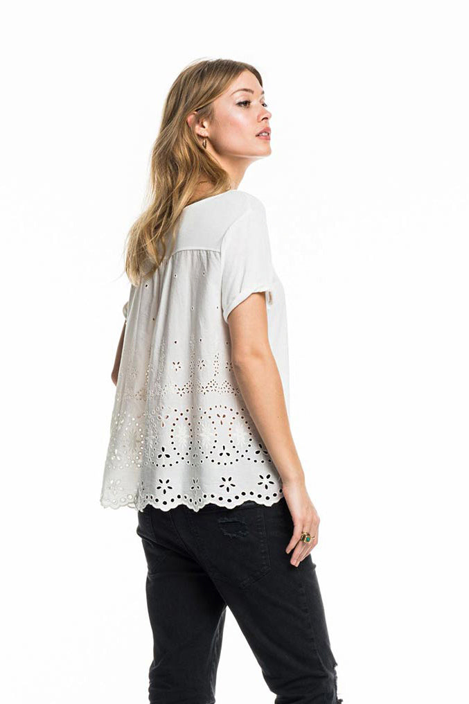 SCOTCH AND SODA - Broderie Anglaise Tee online at PAYA boutique
