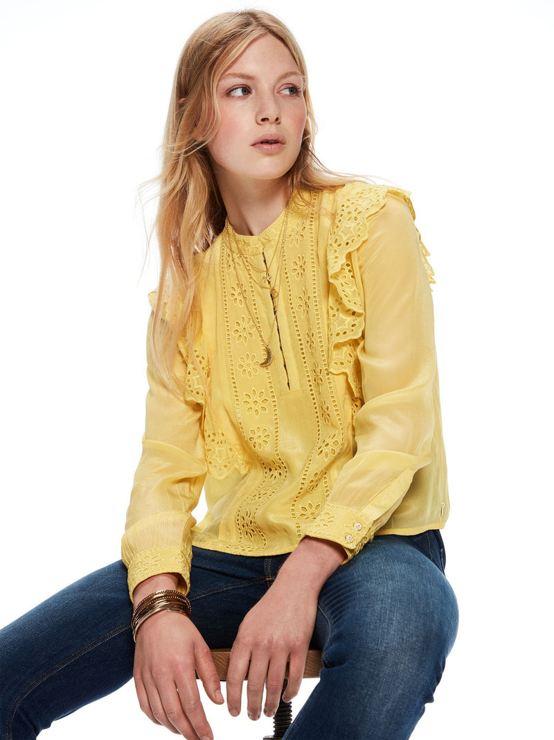 Buy Embroidered Ruffle Top from SCOTCH AND SODA at paya boutique