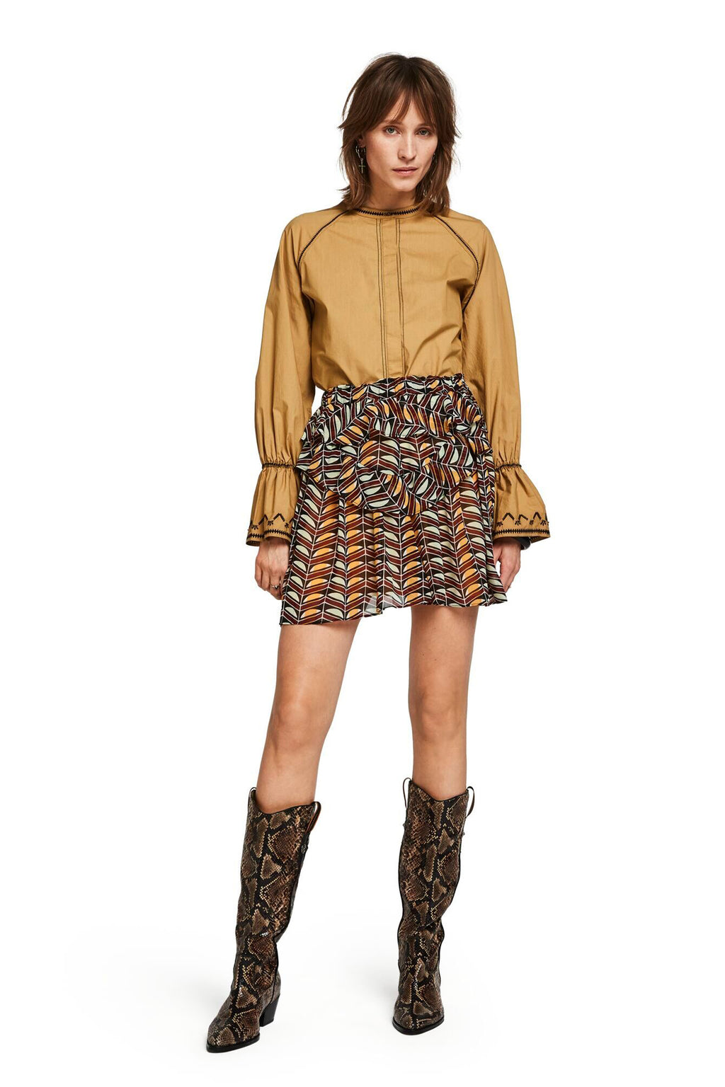 SCOTCH AND SODA - Printed Ruffled Skirt online at PAYA boutique