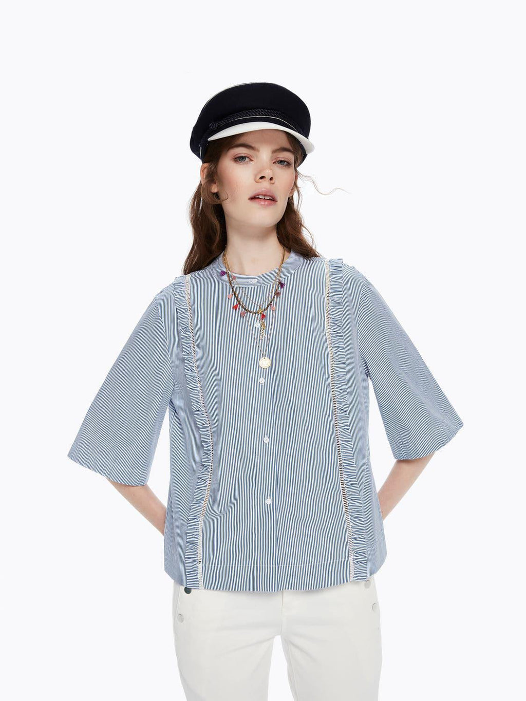 Buy Ruffle and Ladder Detail Shirt from SCOTCH AND SODA at paya boutique