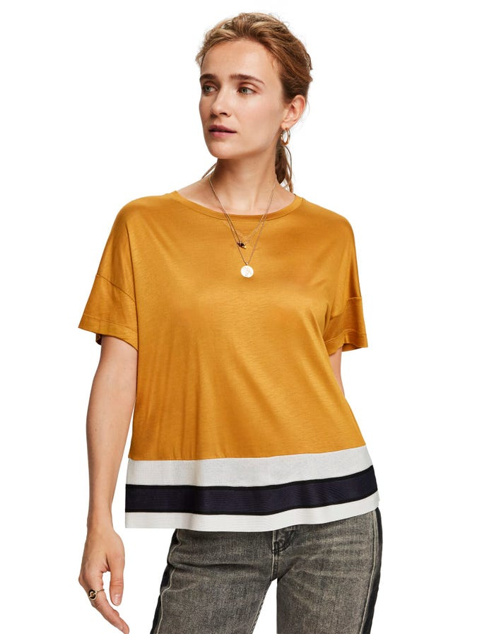 SCOTCH AND SODA - Cropped Short Sleeve Tee with Rib Bottom Hem online at PAYA boutique