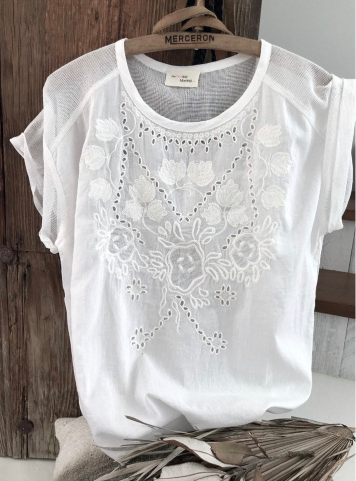 MY SUNDAY MORNING - Isla Lace Tee - White online at PAYA boutique