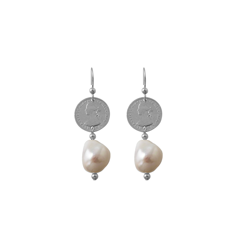 VON TRESKOW - Coin Baroque Pearl Earrings online at PAYA boutique