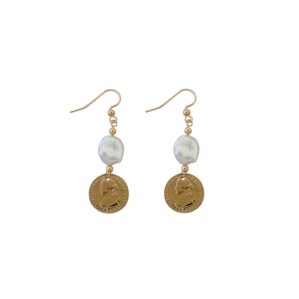 VON TRESKOW - Coin Keshi Pearl Earrings online at PAYA boutique