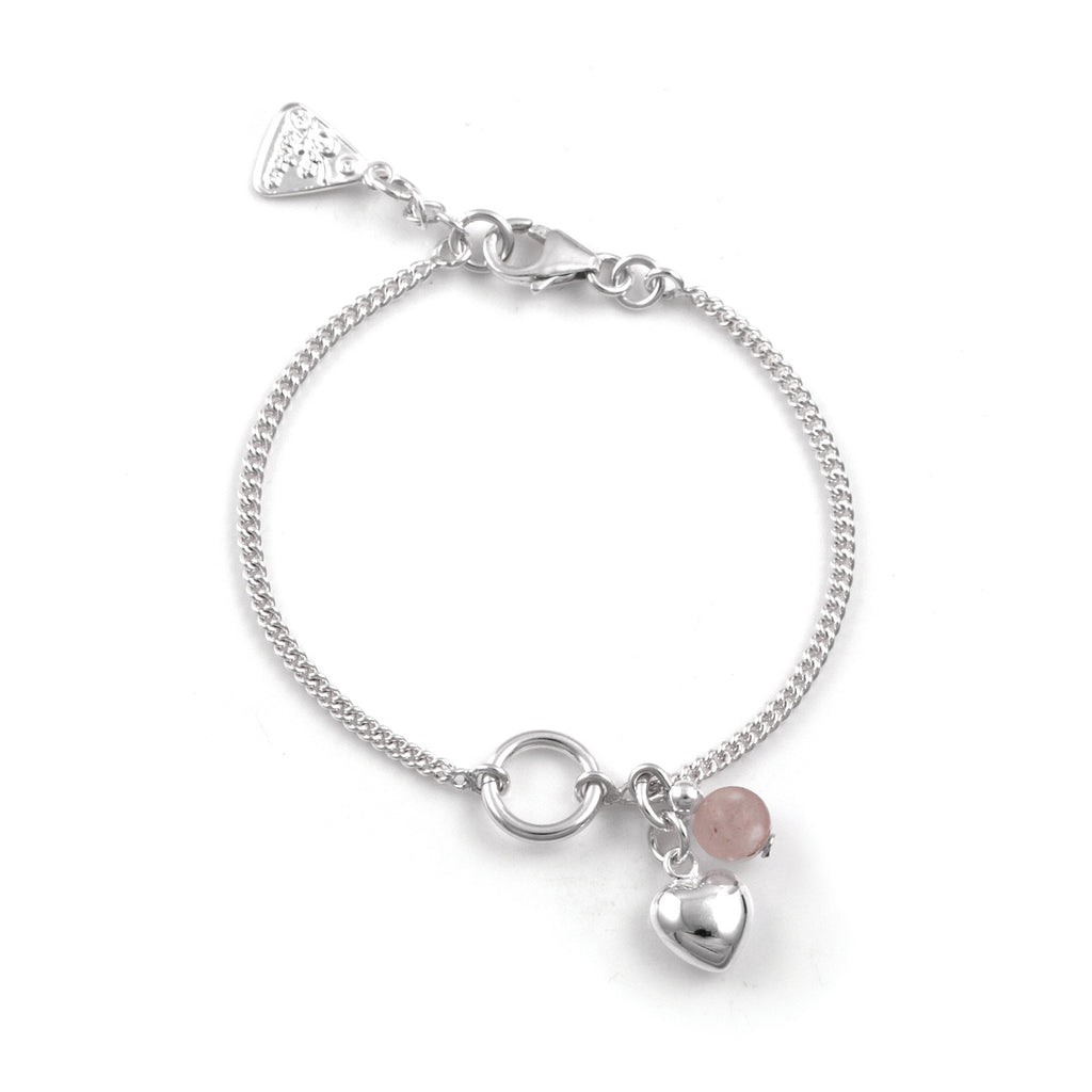 VON TRESKOW - Rose Quartz Fine Curb Heart Bracelet online at PAYA boutique