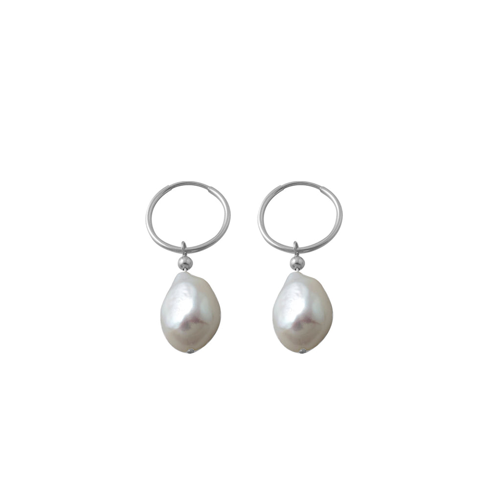 VON TRESKOW - Baroque Pearl Hoop Earrings online at PAYA boutique