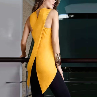 Round Neck Sleeveless Back Slit Blouses
