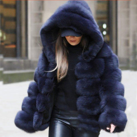 Fashion Faux Fur Stitching Hooded Coat