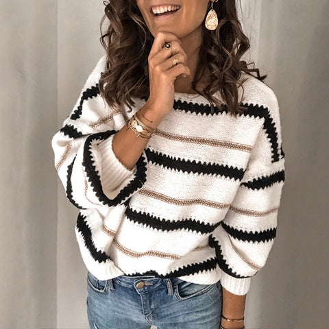 Womens Round Neck Striped Loose Sweater