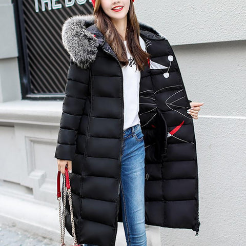Fashion solid color long ladies down jacket
