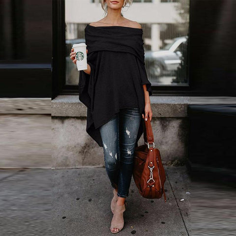 Off Shoulder  Asymmetric Hem  Plain Blouses