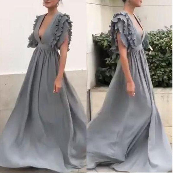 Elegant Sexy V Neck Short Sleeves Grey Maxi Dresses for Women