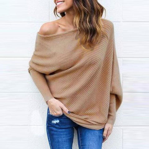 Slant Shoulder Plain Batwing Sleeve Sweaters