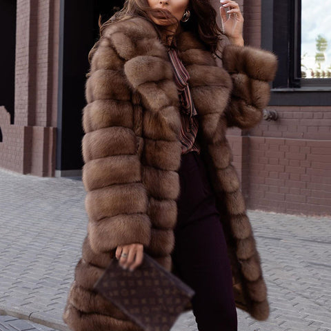 Fashion ladies lapel warm plush coat