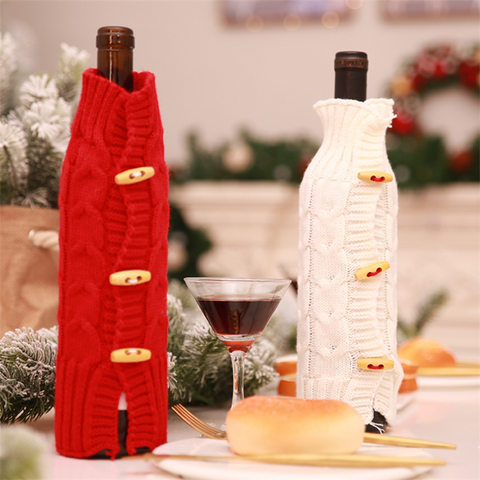 Christmas decoration knit bottle set