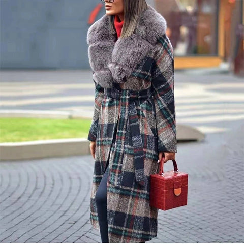 Fashion fur collar multicolor plaid belt coat