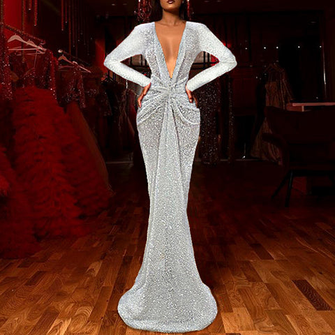 Elegant Slim Glitter Deep V Neck Evening Dress