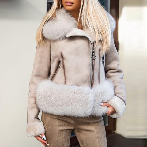 Fashion solid color hairy collar coat