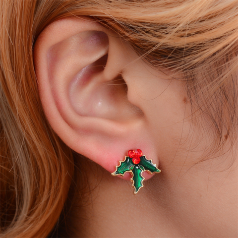 Santa Claus Christmas Tree Stud Earrings Set
