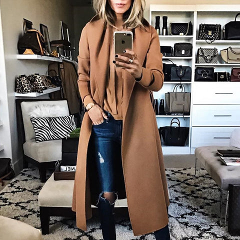 Fashion Solid Color Lapel Cashmere Coat