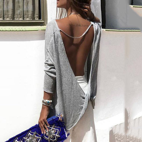 Scoop Neck  Asymmetric Hem Backless  Plain T-Shirts