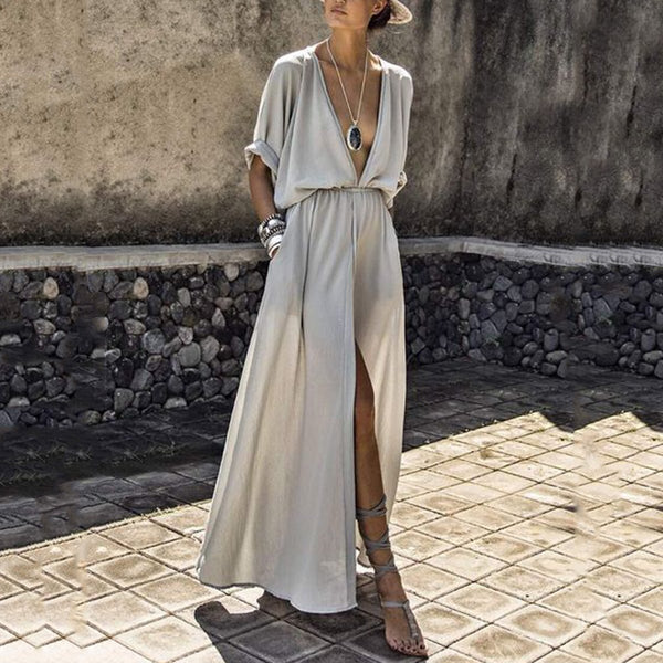 V Neck Elastic Waist Plain Maxi Dress