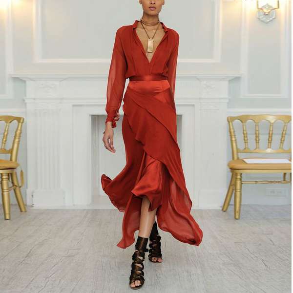 Deep V Neck Long Sleeve Plain Flouncing Red Maxi Dresses for Women