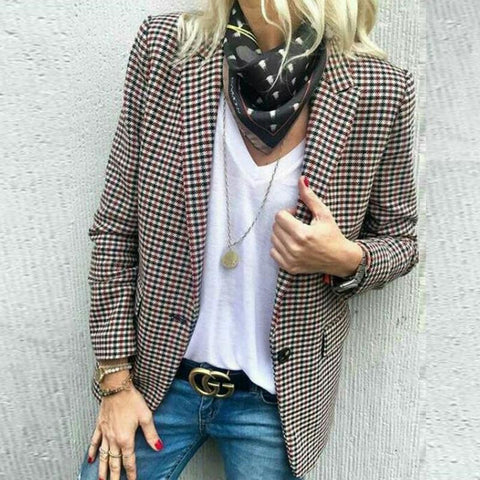 Trench Check Coat Stylish Plaid Long-Sleeve Suit