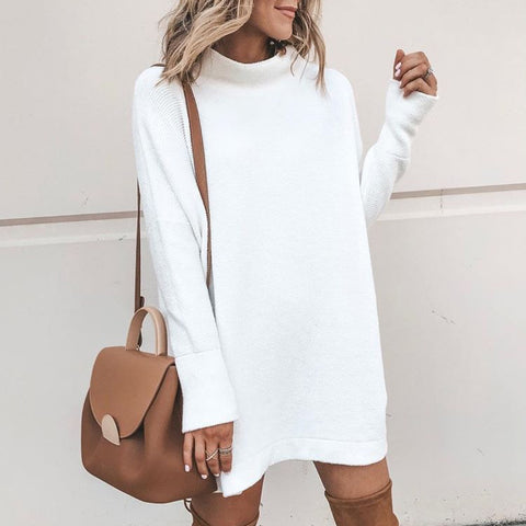 Casual High Collar Pure Colour Long Sleeve Knitwear