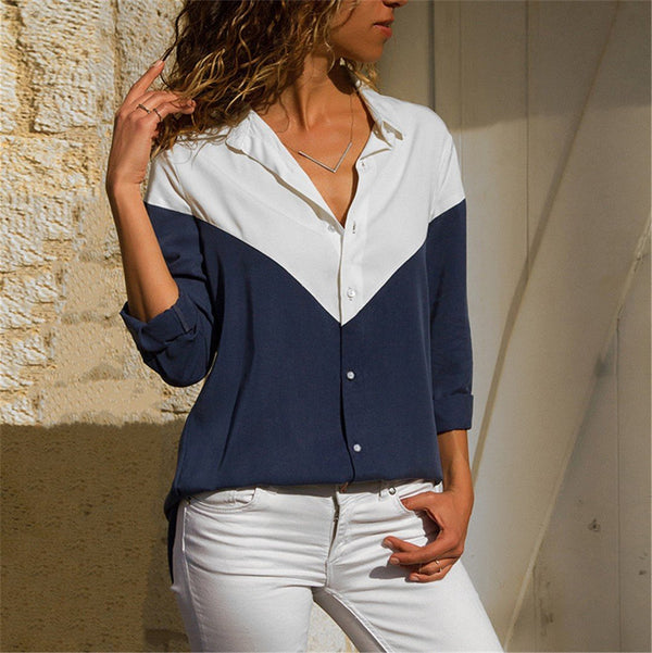 Casual Color Piece Stitching Long Sleeve Slim Chiffon Shirt