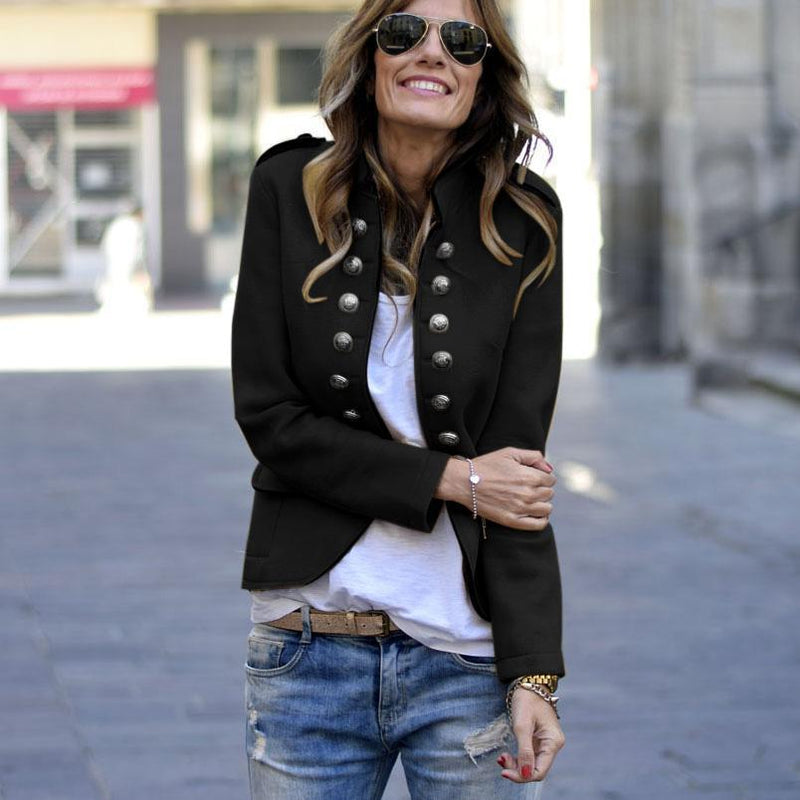 Fashion Pure Colour Long Sleeve Jacket