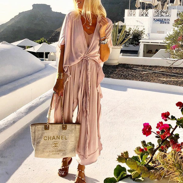 Casual Loose Tie Front V Neck Wide Leg Jumpsuit