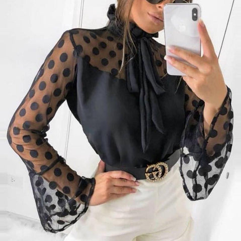Fashion Polka Dotr  Bell Sleeve Polka Dot Blouse