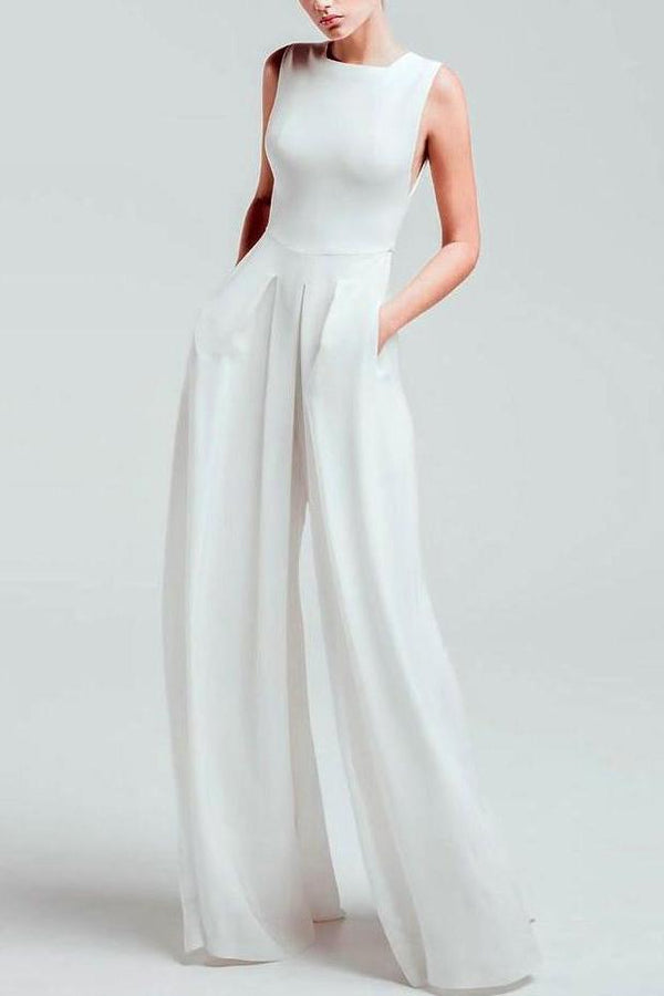 Women's Casual Square-Cut Collar Pure Color Sleeveless Jumpsuit