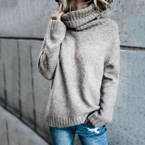 Women's Turtle Neck  Plain Warm Sweaters