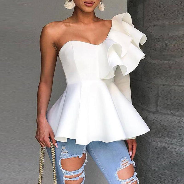 Sexy Ruffled Pure Colour Off-Shoulder Blouse