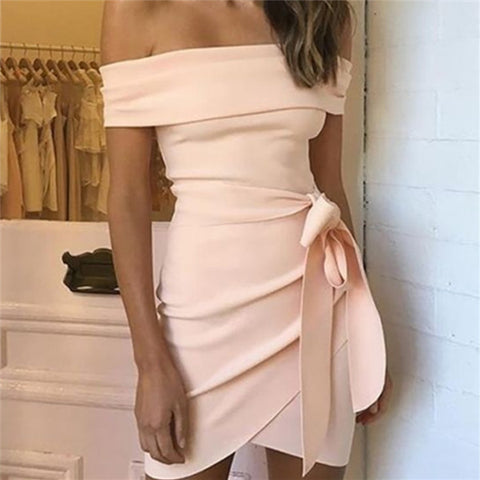 Sexy One Word Collar Solid Color Bodycon Dresses