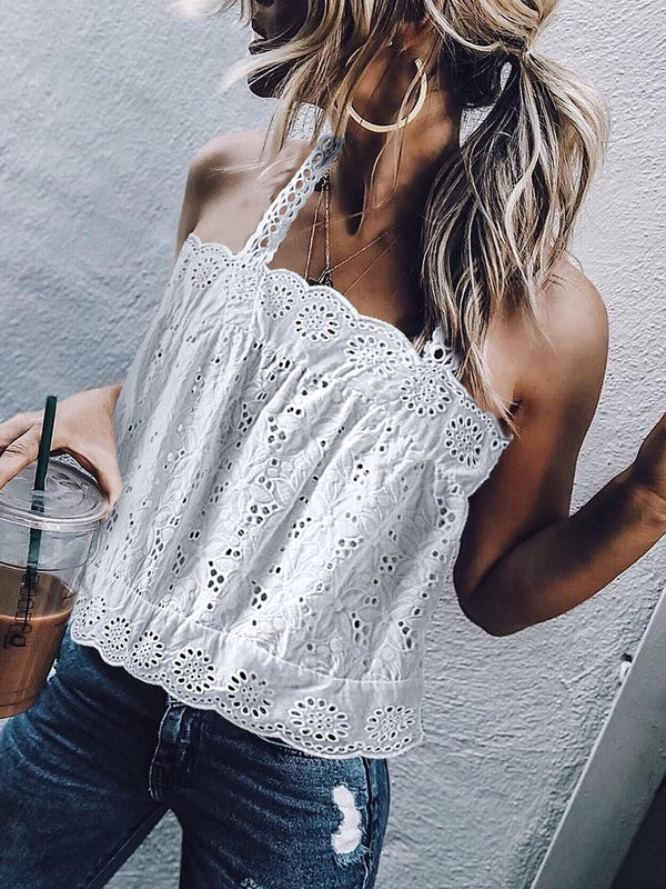 Elegant Lace Hollow Out Boat Neck Inwrought Tank Top
