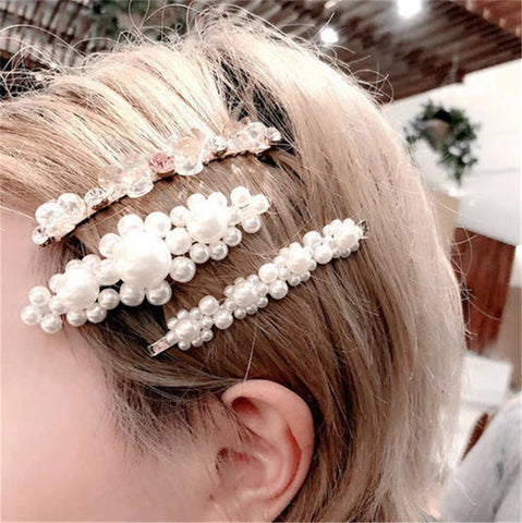 INS Net Red Pearl Hairpin Set