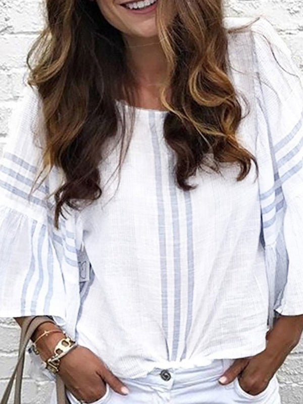 Casual Round Neck Bell Sleeve Stripe Pleated T-Shirt