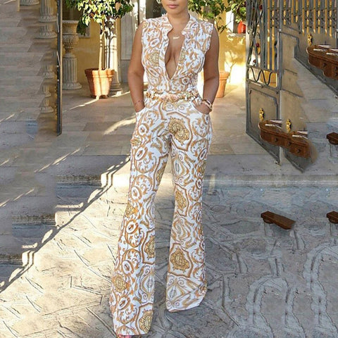 Sexy Retro Floral Print Sleeveless Jumpsuit