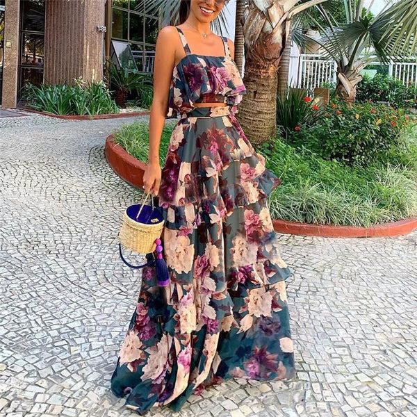 Women Sexy Printed Colour Sling Two Piece High Waist Dress