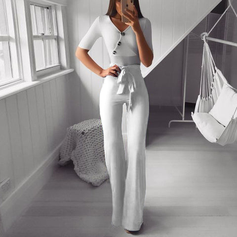 Fashion V Neck Halflong Sleeve Pure Colour High-Waist Suit