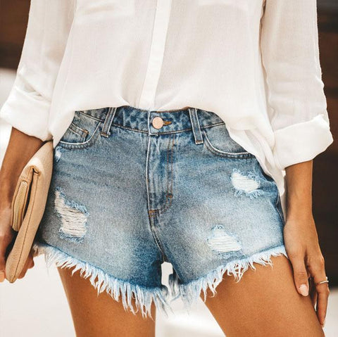 Fashion Casual Wild Straight Short Jeans