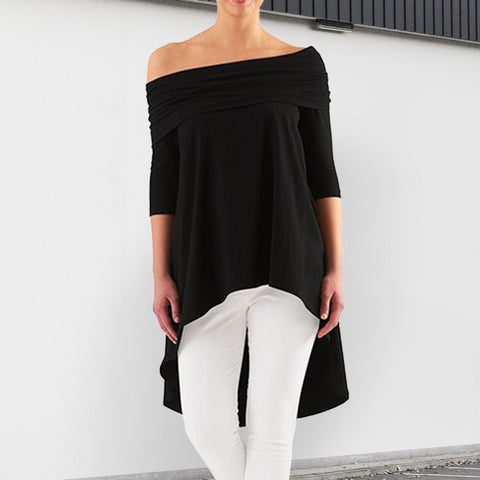 Fashion Solid Color Irregular Long Top
